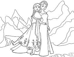 Elsa Queen And Princess Anna At North Mountain Colouring Page