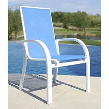 aluminum sling stacking chair blue sam s club