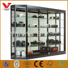 Magnetic Wooden Camera Glass Cabinets Wall Display Cases