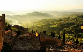 View Of Tuscan Landscape From Roof Full HD Wallpaper And
