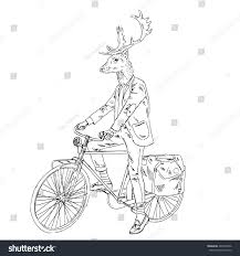 Cool Dressed Deer On Bicycle Furry Art Fashion Animals Hipster