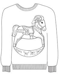 Click To See Printable Version Of Christmas Ugly Sweater With A Rocking Horse Motif Coloring Page