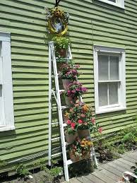Rustic Garden Planters Creative Wood Ladder Planter With Colorful Flowers On Stainless Pots White