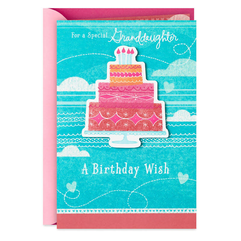 Cake and Wishes Birthday Card for Granddaughter