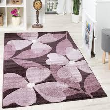 teppich wohnzimmer blumen muster kleeblatt braun