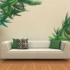 dekoration baum blätter grün kleber mauer flur wohnzimmer