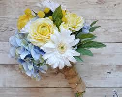 Daisy Wedding Bouquet Blue Yellow White Silk