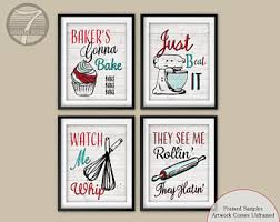 Funny Kitchen Quote Art Print Set Red Teal Decor Cupcake Whisk Rolling Pin