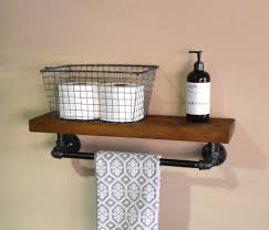 Bathroom Floating Shelve Towel Rack Industrial