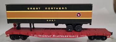 N SCALE CON-COR Great Northern Flatcar W/ Piggyback Trailer & MT ...