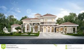 100 Garden Home Design 3d Rendering Modern Classic House With Luxury Stock