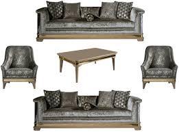 casa padrino luxus deco wohnzimmer set silber schwarz beige gold 2 sofas 2 sessel 1 couchtisch deco wohnzimmer möbel