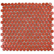 Home Depot Merola Penny Tile by Merola Tile Hudson Penny Round Vermilio 12 In X 12 5 8 In X 5 Mm