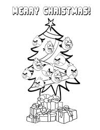 Angry Birds And Christmas Tree Coloring Page