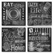 Beautiful Fun Chalkboard Style Kitchen Signs Messy Heart Of The Home Spice Life And Cook Much Four 12x12in Paper Prints Printed On