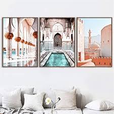 3 stück bilderset marokko tür islamische moschee landschaft