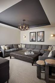 Basement Paint Color Walls Are Benjamin Moore Revere Pewter And The Tray Ceiling Is