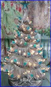 Bulbs For Ceramic Christmas Tree by Vintage Silver Accented Ceramic Christmas Tree Seafoam Twist Bulbs
