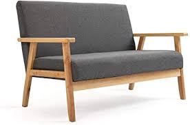 mingone sofa 2 sitzer sessel holz stoff leinen für schlafzimmer lounge wohnzimmer büro garten hof grau 113 5 x 67 x 73 5 cm