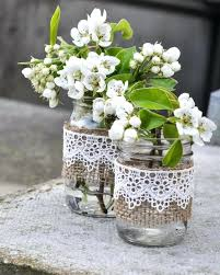Mason Jars With Burlap Sleeves Diy And Lace Rustic Jar Vases