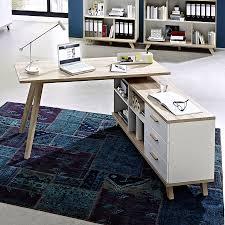 bureau d angle design blanc bureau d angle blanc et couleur chêne clair contemporain malmo