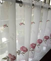 Embroidery Kitchen Curtain Coffee Dining Room Sunshine Semi Sheer Valances