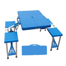 traveling practical folding picnic table with seats and blue