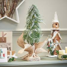 Pre Lit Battery Downswept Christmas Tree With Hessian Sack Warm White LEDs