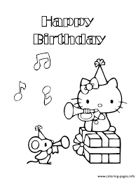 Hello Kitty Happy Birthday Coloring Pages Printable