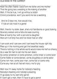 Irish Music Song and Ballad Lyrics for Old Maid In The Garret