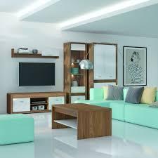wohnzimmer komplett set d tempe 5 teilig farbe nussfarben weiß hochglanz fronteinsatz nussfarben
