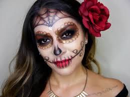 Halloween Half Mask Makeup by Glam Sugar Skull Halloween Makeup Tutorial Dia De Los