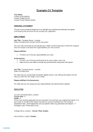 Example Of Personal Statement For Resume Awesome Examples Resumes Baskanai General