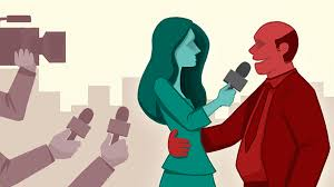 Female Reporter Being Touched By Male Interviewee