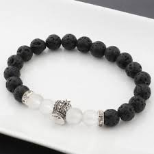 Image Is Loading Handicrafts Lava Beads Silver Plated Crown Bracelet Crystal