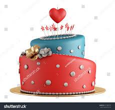 Red Blue Birthday Cake Candle Shape Stock Illustration