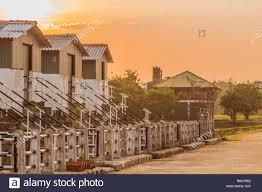 100 Small Beautiful Houses Small Beautiful Houses On The Sunset Landscape Composition Stock