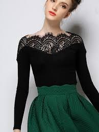 shop black long sleeve contrast lace collar t shirt online
