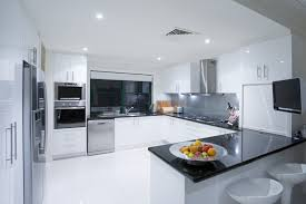 Kitchen Graceful Modern White Kitchen Cabinets With Black Care