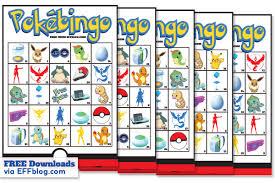 Pokemon GO PokeBingo Free Printable Bingo Game