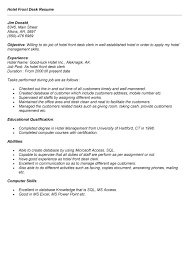 hotel front desk resume sle free resumes tips