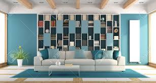 weißes und blaues großes wohnzimmer mit bücherregal und sofa 3d rendering