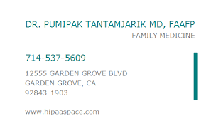 NPI Number DR PUMIPAK TANTAMJARIK MD FAAFP