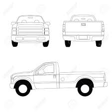 100 Truck Line Pickup Illustration Front Side And Rear View Stock