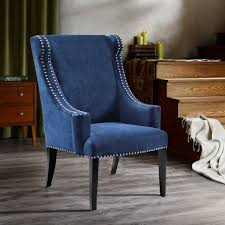 park blue high back wing chair free shipping today