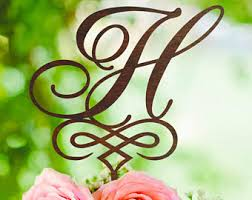 H Cake Topper Wood Monogram Wedding Toppers For Initial