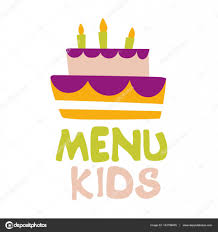 Kids Food Cafe Special Menu For Children Colorful Promo Sign Template With Text And Party Cake With Candles Flat Childish Cartoon Label For Healthy And