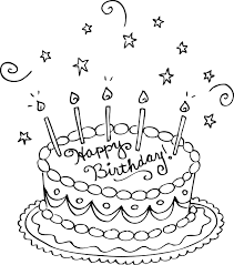 Cake coloring pages happy birthday