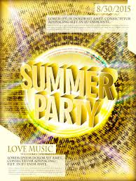 Gorgeous Summer Party Poster Design Template With Golden Background Stock Vector