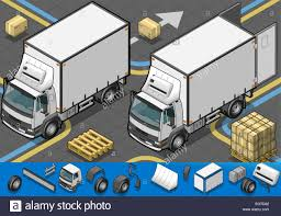 Detailed Illustration Of A Isometric Container Refrigerator Truck In ...